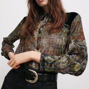 NWT Zara Maroon Printed Blouse w/ Velvet Details S